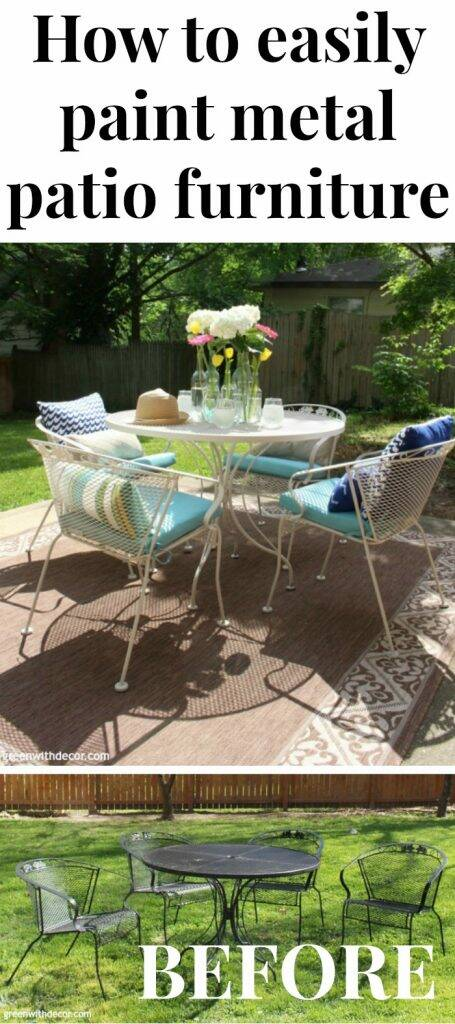 "A painted outdoor patio set with a text overlay, ""How to easily paint metal patio furniture"""