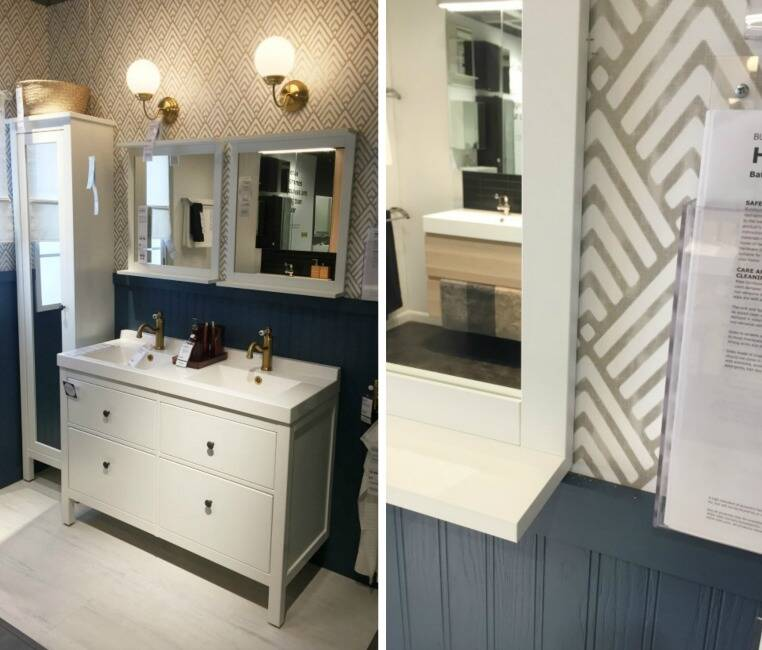 Bathroom with double mirrors and a gray vanity