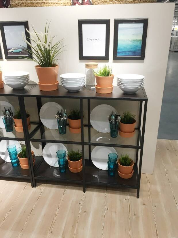 Black and glass shelves with plants, dishes and artwork