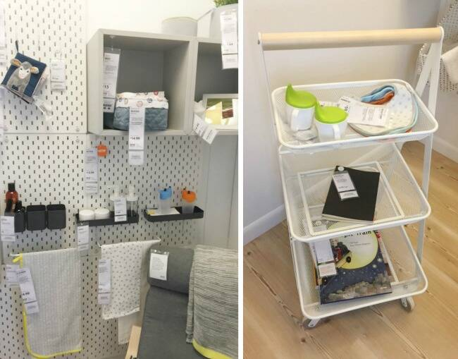Nursery organization - a pegboard and a three-tiered shelf