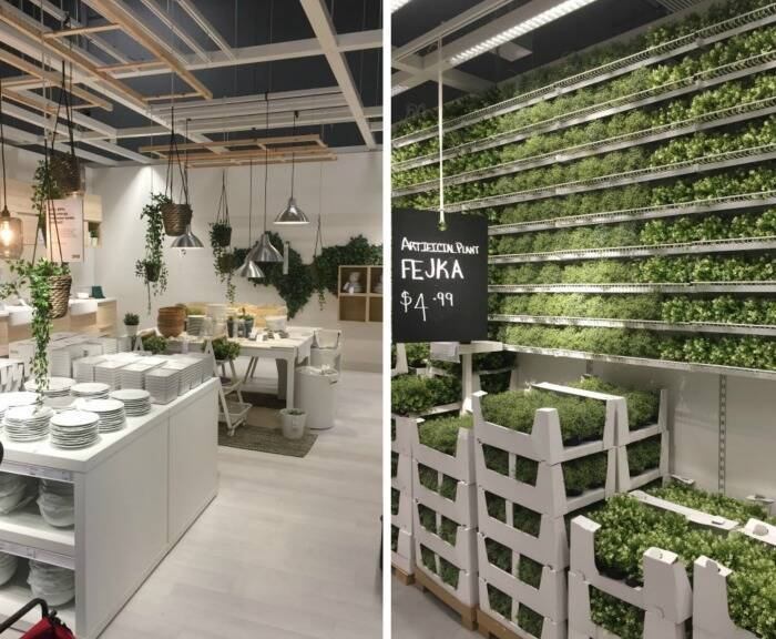 Faux plant section at IKEA