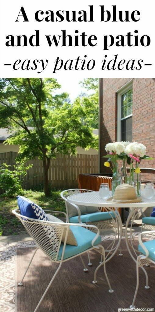 "A blue and white patio with text overlay, ""A casual blue and white patio, easy patio ideas"""
