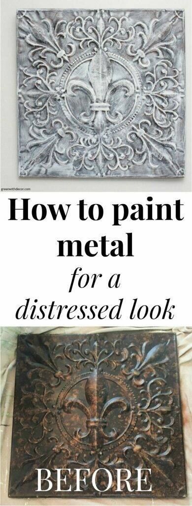 "Painting metal for a fun DIY wall art project, with text overlay, ""How to paint metal for a distressed look"""