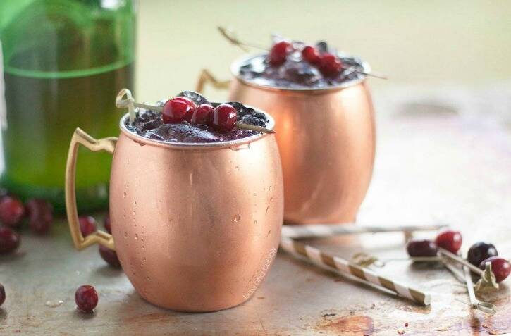 Cranberry Moscow mule fall cocktail recipe