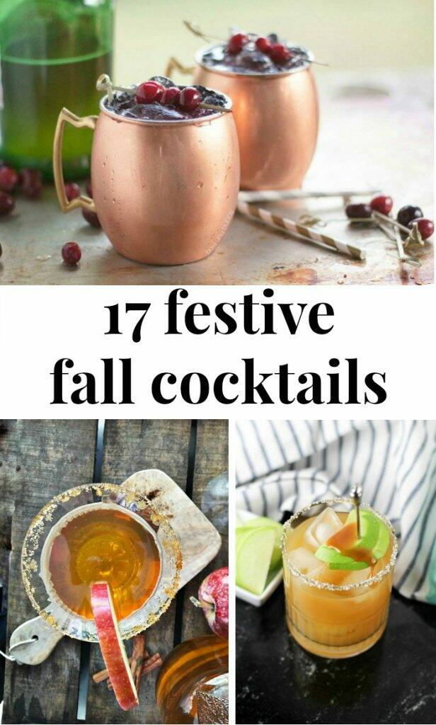 "Fall cocktails with text overlay, ""17 festive fall cocktails"""