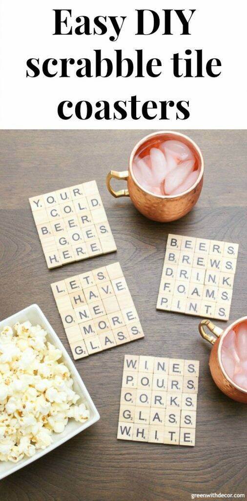 "Scrabble tile DIY coasters near copper mugs with text overlay, ""Easy DIY scrabble tile coasters"""