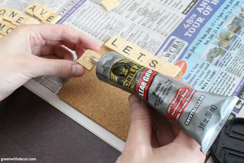 Using Gorilla Glue Clear Grip to make scrabble tile DIY coasters