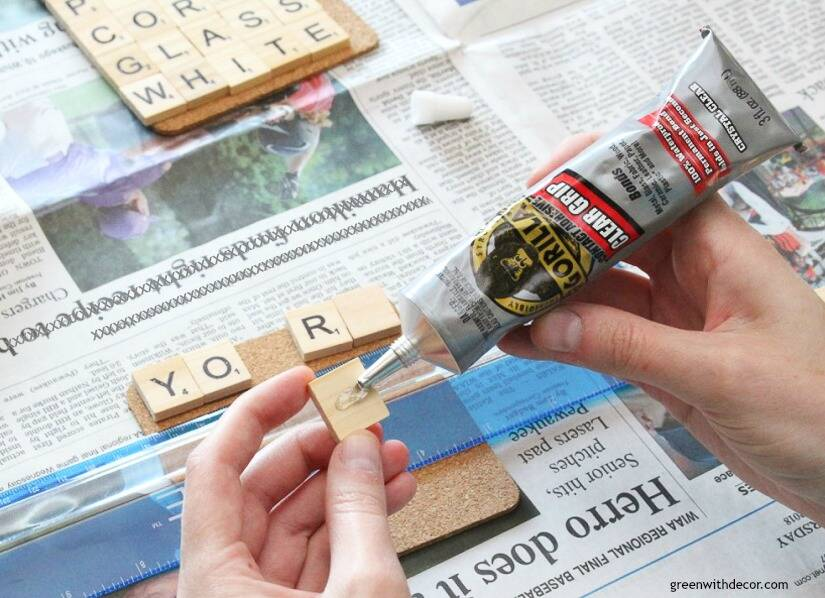 Using Clear Grip to make scrabble tile DIY coasters
