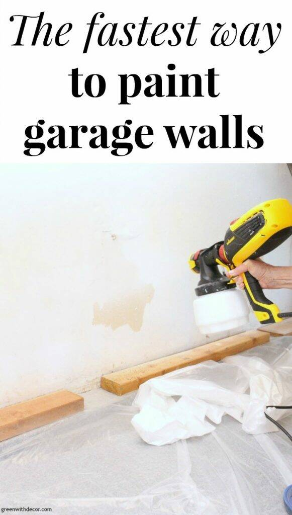 "A paint sprayer with text overlay, ""The fastest way to paint garage walls"