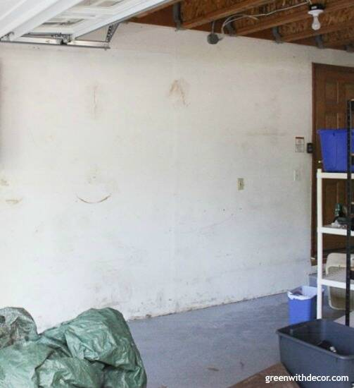 Painting garage walls with a paint sprayer – a before picture