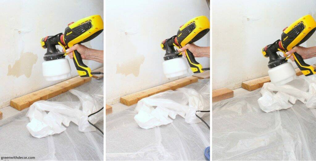 Painting garage walls with a paint sprayer