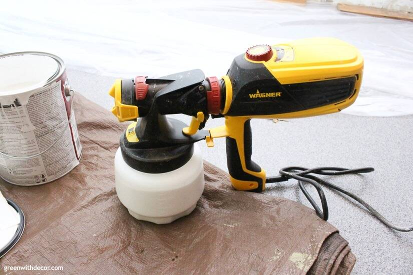Painting garage walls with a Wagner paint sprayer