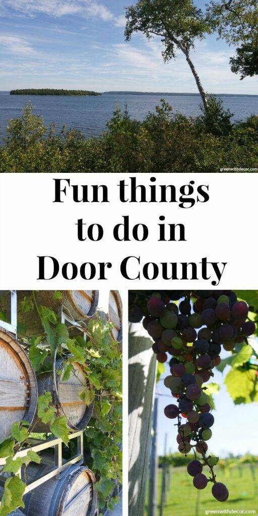 "Lake views and a winery, with text overlay ""Fun things to do in Door County"""