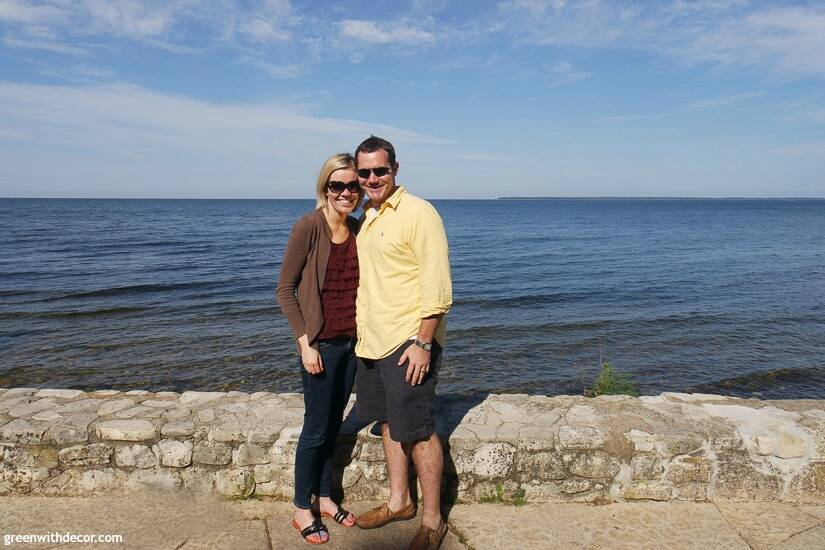 A couple standing near the water in Door County, Wisconsin