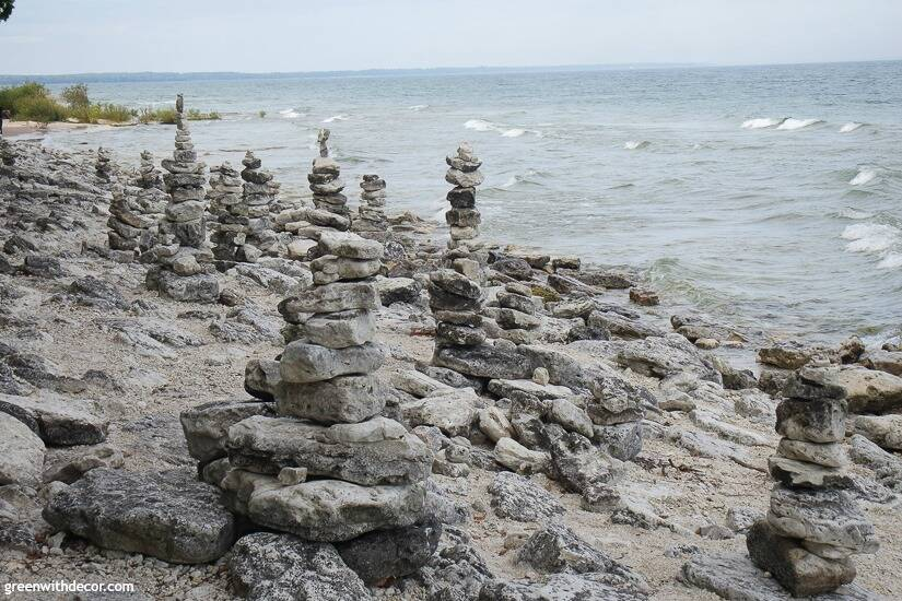 Small rock piles stacked in a park in Door County, Wisconsin