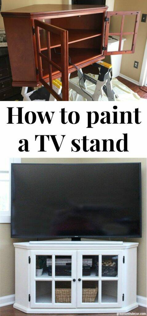 "White painted TV stand with text overlay, ""How to paint a TV stand"""
