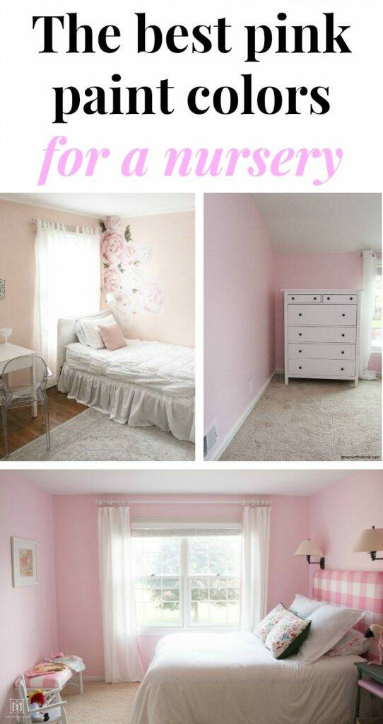 "Pink paint colors collage with banner, ""The best pink paint colors for a nursery"""