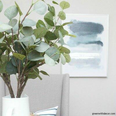 Faux eucalyptus in a gray dining room