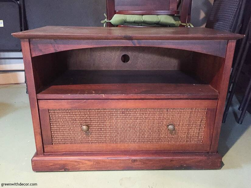 An old brown TV stand