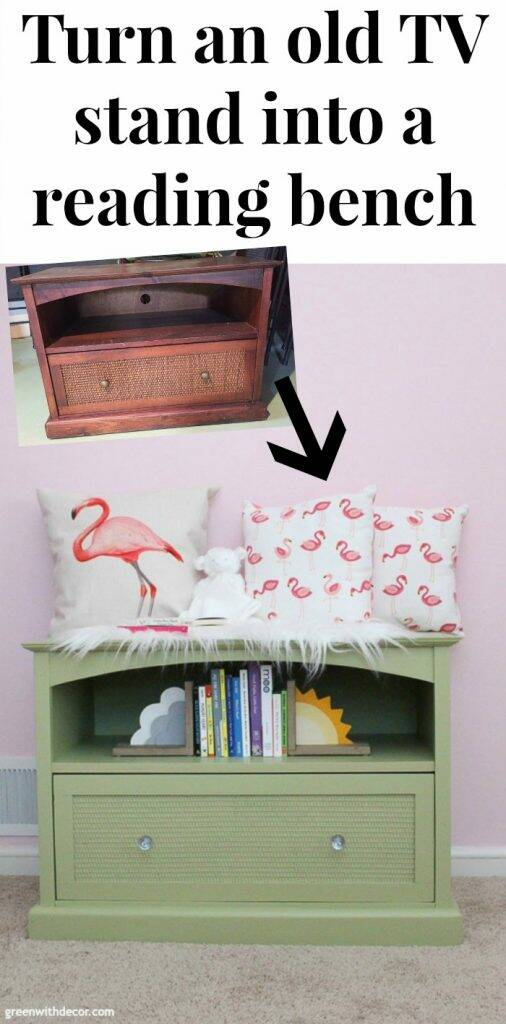"A green painted TV stand with text overlay, ""Turn an old TV stand into a reading bench"""
