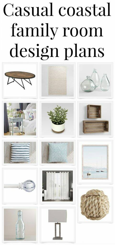 "Collage with text overlay, ""Casual coastal family room design plan"""