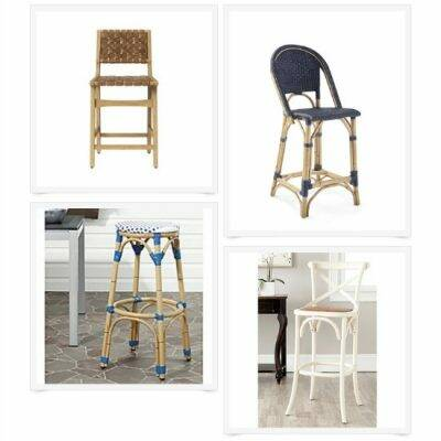 Collage of four blue and wood coastal barstools