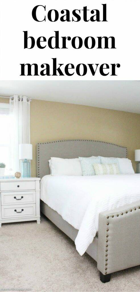 "Coastal bedroom with text overlay, "" Coastal bedroom makeover"""