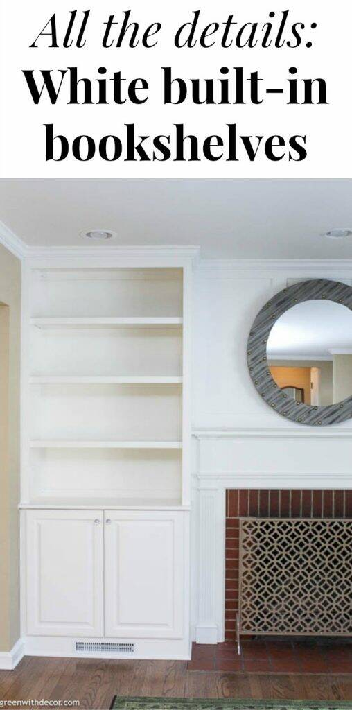 "White built-ins around a fireplace with text overlay, ""All the details: White built-in bookshelves"""