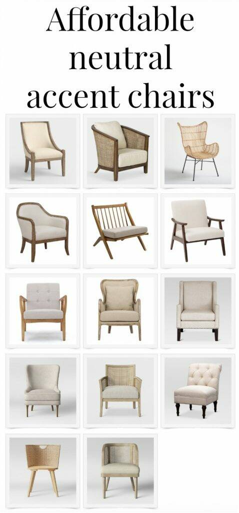 "Collage of accent chairs with text overlay, ""Affordable neutral accent chairs"""