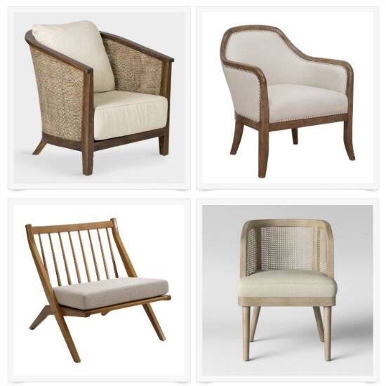 Collage of four neutral accent chairs