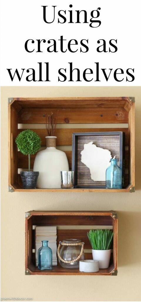 "Wood crate wall shelves with text overlay, "" Using crates as wall shelves"""