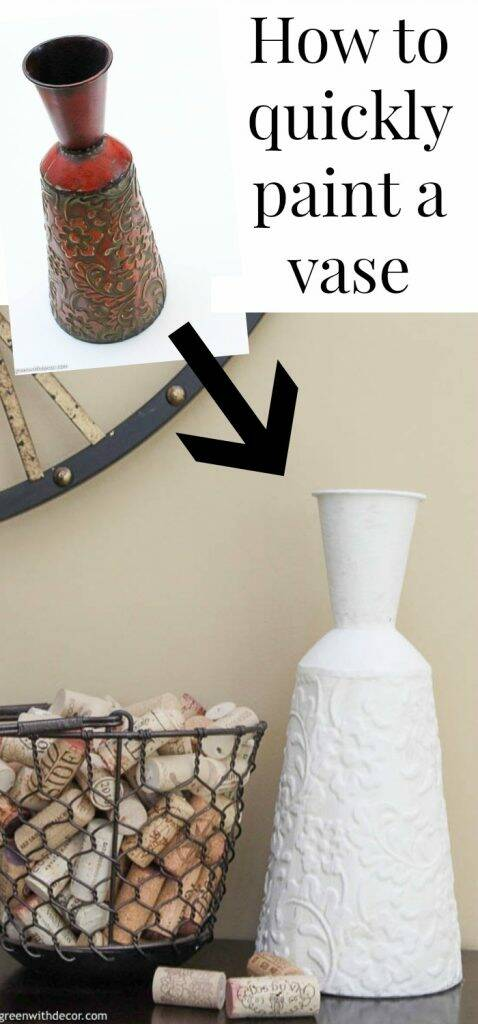 "Before/after vase with text overlay, "" How to paint a vase"""