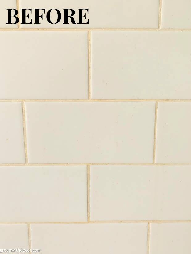 Dirty grout in white subway tile