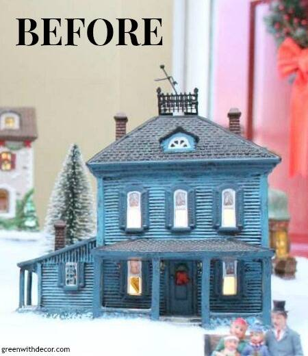 "Blue Christmas village house with text overlay, ""before"""