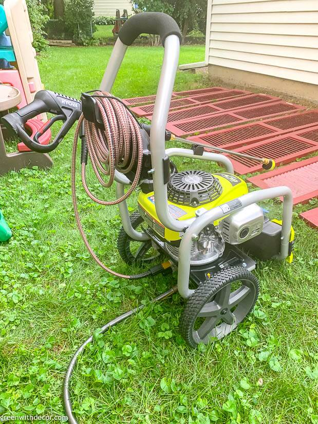 A RYOBI pressure washer you can use to clean concrete