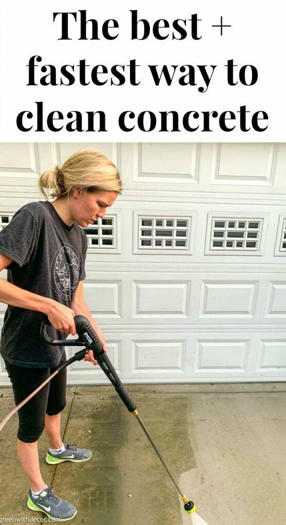 "Pressure washer with text overlay, ""The best + fastest way to clean concrete"""
