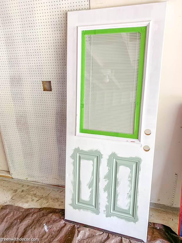Painting an exterior door with blue paint