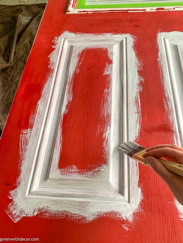 Painting an exterior door - painting the panels with a brush