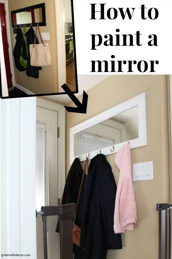"Small foyer with text overlay, ""How to paint a mirror"""