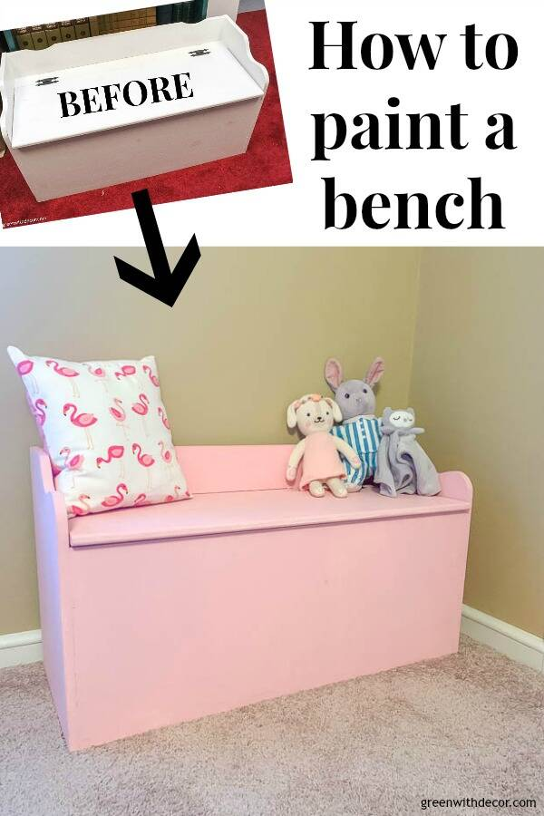 "Before/after of bench with text overlay, ""How to paint a bench"""