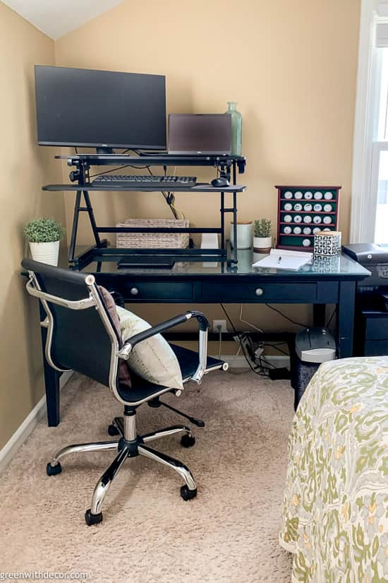 Home office corner in guest bedroom
