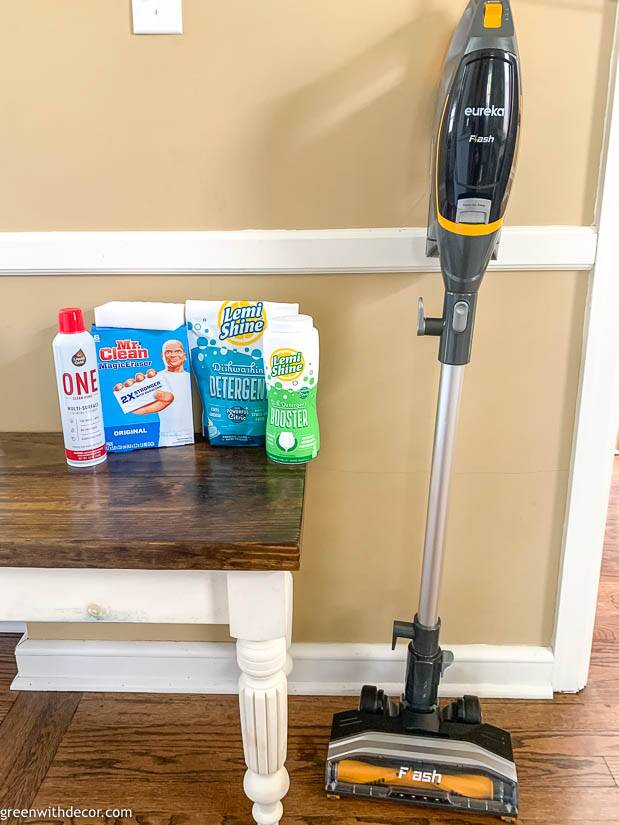 Magic Erasers, dishwasher detergent, foaming cleanser and a Eureka vacuum
