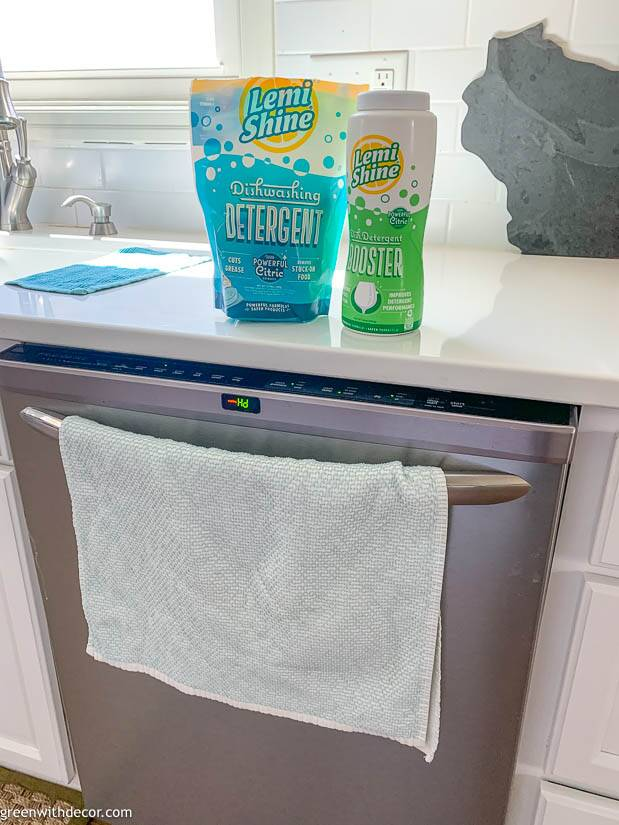 Dishwasher detergent on top of the dishwasher