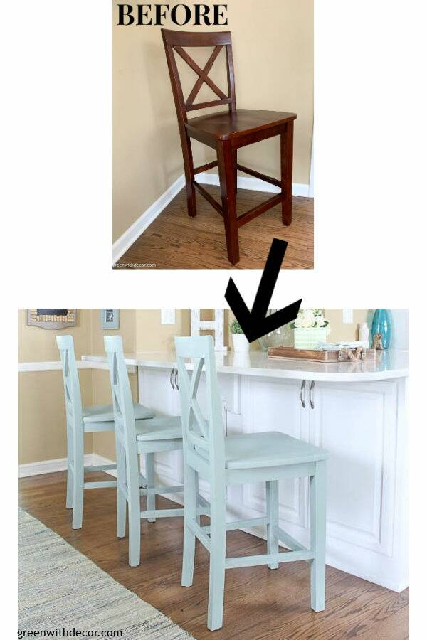 Before/after blue painted barstool makeover