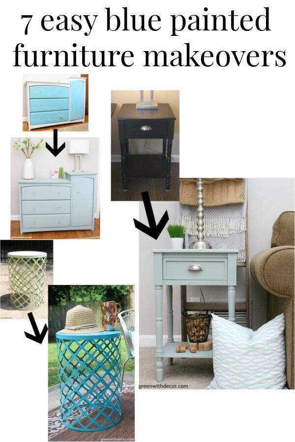 Collage of blue painted furniture makeovers