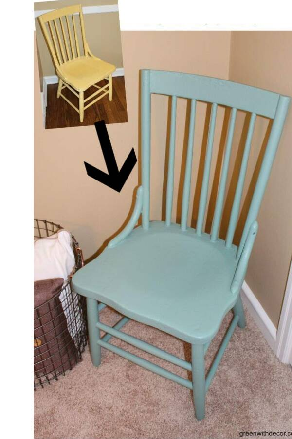 Before/after blue painted chair makeover