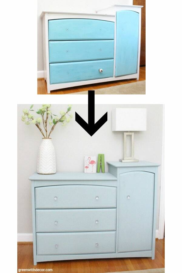Before/after dresser blue painted furniture makeover