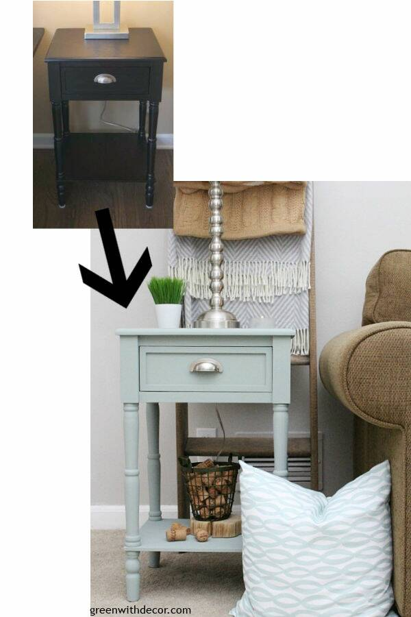Before/after painted blue end table