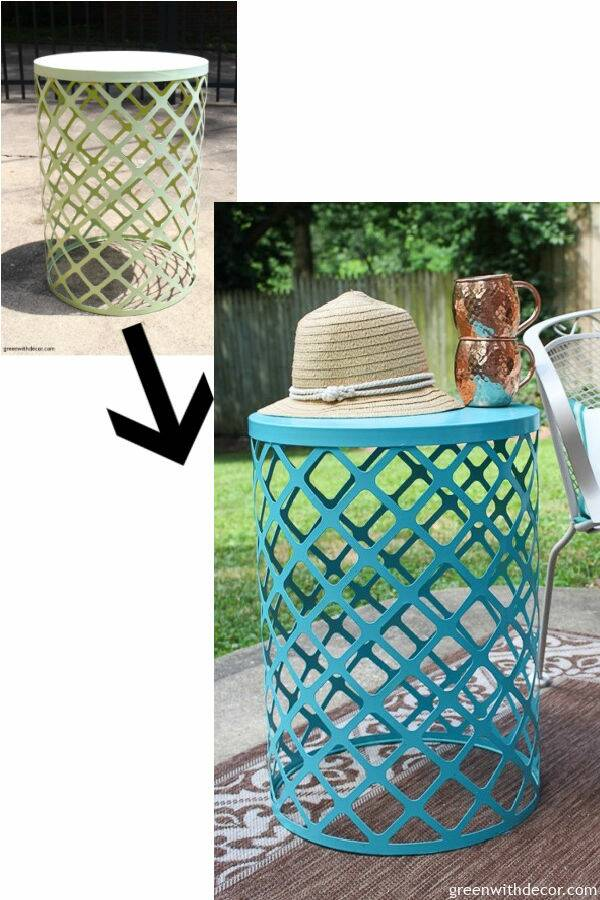 Before/after outdoor side table blue makeover