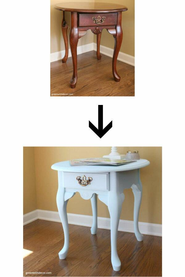 Before/after painted blue table